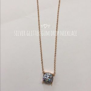 Silver Glitter Gum Drop Necklace
